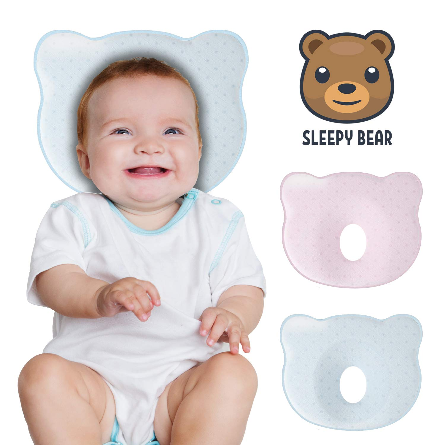 Baby Head Shaping Memory Foam Pillow | Prevent Newborn Infant Plagiocephaly Flat Head Syndrome | Super Soft, Comfortable & Supportive (Blue)