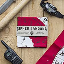 Colter Co. Survival Bandana for Camping, Hiking, Fishing   100% Cotton Red Bandana With Morse Code, Sign Language, Signal Mirror, Ham Radio Reference Guide   Made in the USA by