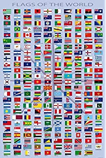 Bandiere Del Mondo Nomi Di Paesi E Capitali In Inglese Poster