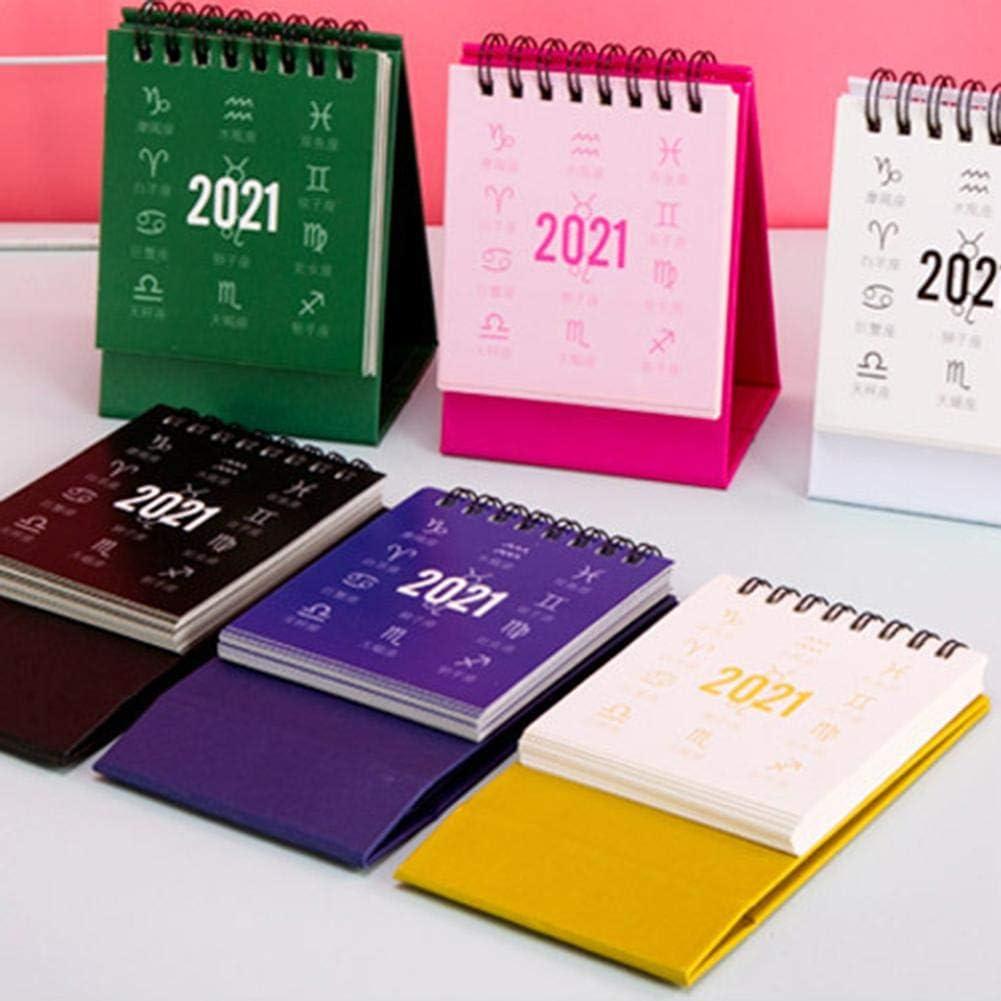 2021 Desk Calendar,Mini Desktop Calendar Foldable Simple Triangular Calendar Cartoon Korean Desktop Calendar Creative Desk Notebook Plan Book,for Home Office School