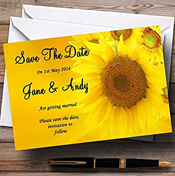 Fall save the date card save the date cards fall wedding sunflower save the date card