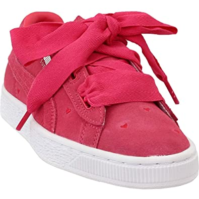 new arrival 519b0 14024 PUMA Girls Suede Heart Valentine Junior Casual Shoes,