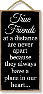 Honey Dew Gifts Friends Decor, True Friends at a Distance are Never Apart 5 inch by 10 inch Hanging Sign, Wall Art, Home Decor