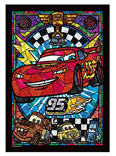 Tenyo 266-piece Jigsaw Puzzle Cars Lightning McQueen Stained Glass Tightly Series [Stained Art] (18.2x25.7cm)]()