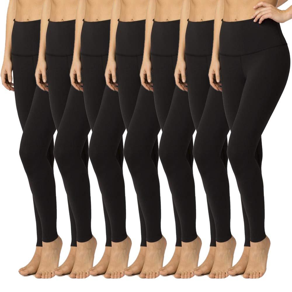 High Waisted Leggings for Women - Soft Athletic Yoga Pants - Reg & Plus Size (7 Pack Black, One Size (US 2-12))
