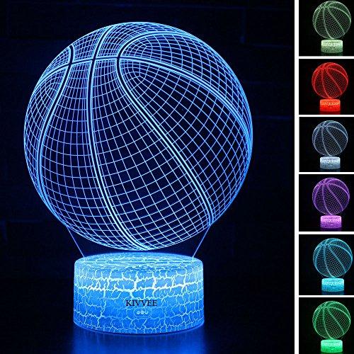 (Visual 3D light Illusion basketball Toys Night lamp Xmas Chirstmas Festival Birthday Valentines Day Children Gift Nursery Bedroom Desk Table Decor for Boys Kids children Dinosaur Lovers by KIVVEE)