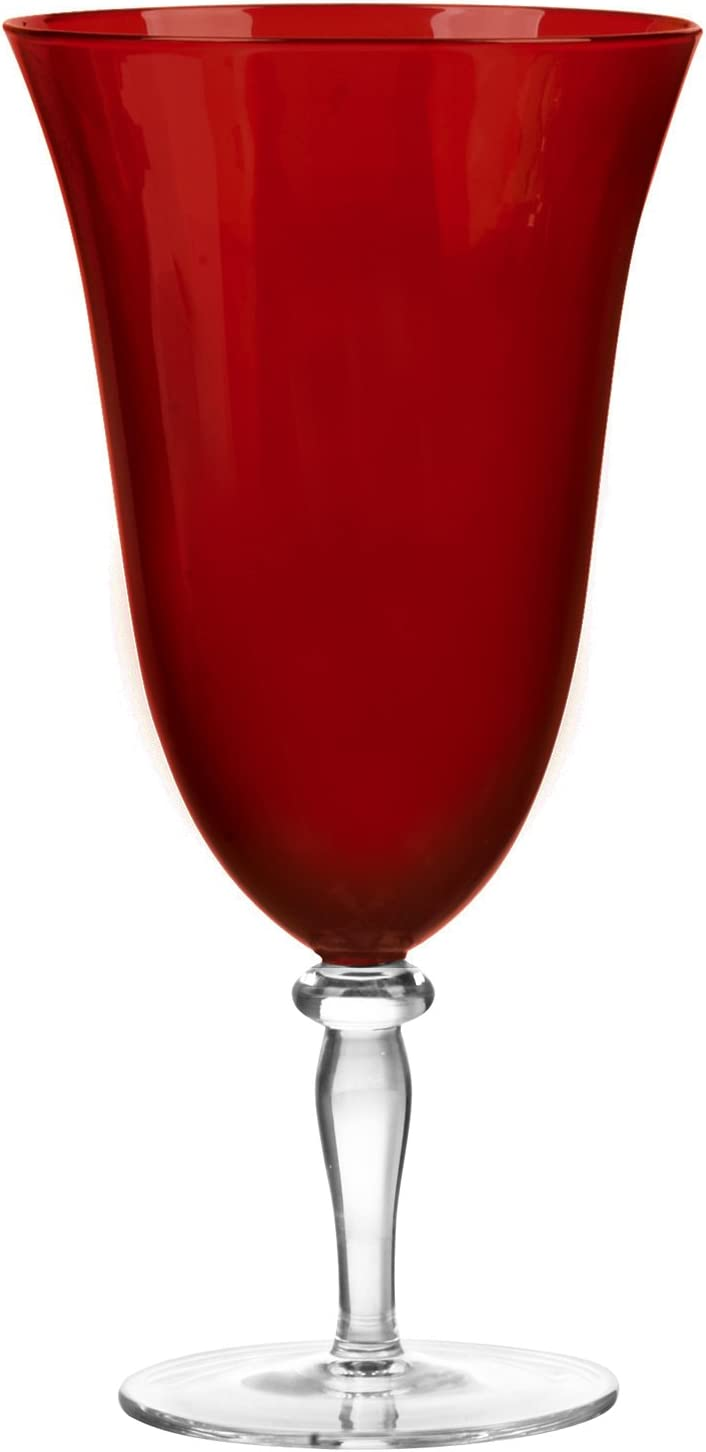 Qualia Glass Rouge Iced Beverage Glass, Garnet Red, Set of 4