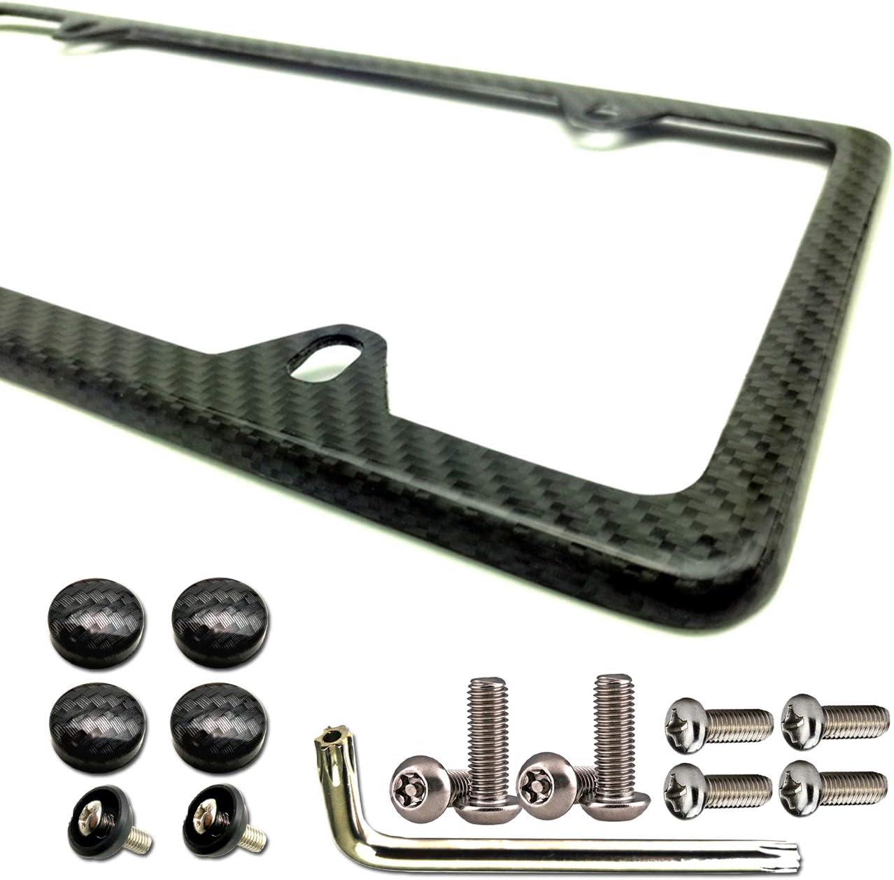 Carbon Fiber License Plate Frame - Aluminum License Plate Frames Handmade Covering 100% Real Carbon Fiber   Stainless Steel Tamper Proof License Plate Screws ,CF Cover   4 Hole Slim Frame 1 Pack