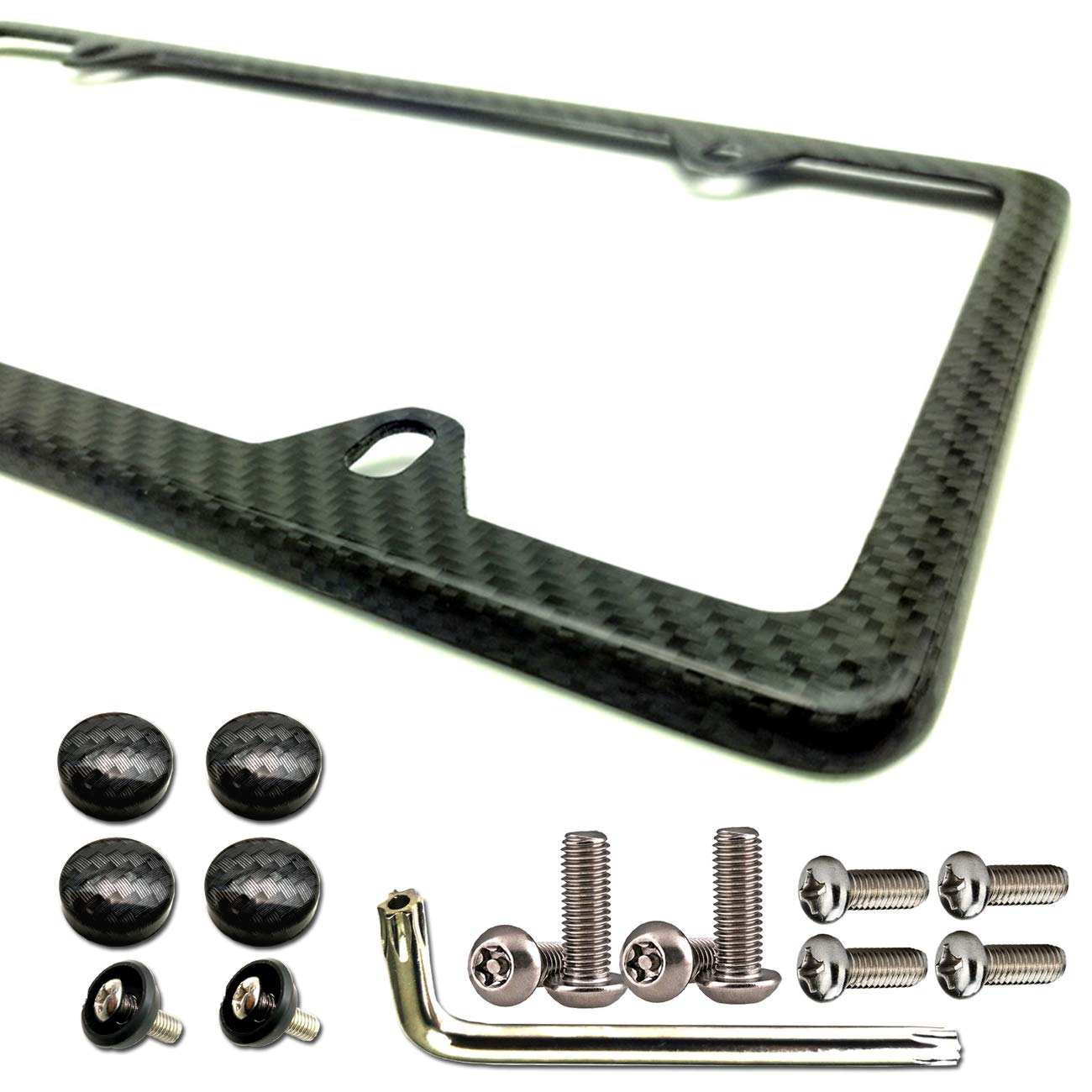 1PCS 100/% Real Carbon Fiber License Plate Frame 2 Holes Black Licenses Plates Frames,Car Licence Plate Covers Holders Slim Design with Chrome Screw Caps Tool Kit for US Canda and Mexico Vehicles