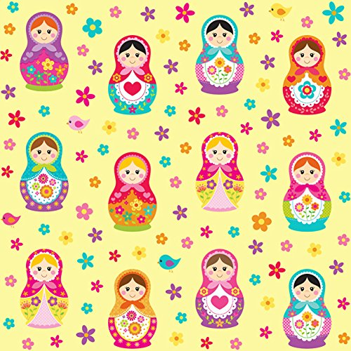 [Euro Organic Knit Matryoshka Russian Doll Design Fabric By the Yard, 92% Cotton, 8% Lycra, 60 Inches Wide, 4 Way Stretch, Medium Weight (1] (Russian Costume Pattern)