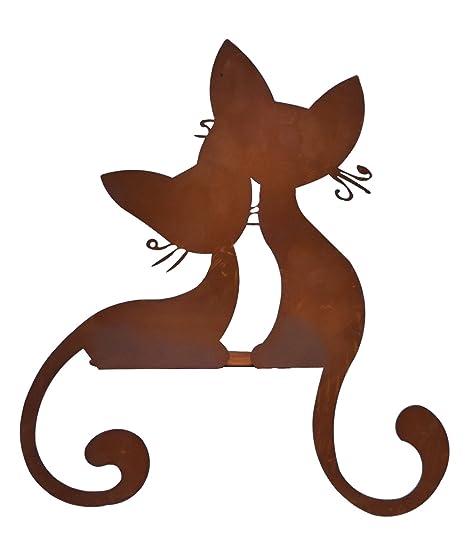 Gatos Par bordes taburete gato metal oxidado Decoración Jardín Animal Figura Escultura