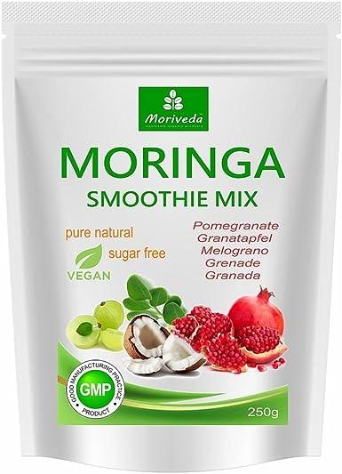 Batido de polvo de moringa, potenciador de energía, batido de vitaminas, batido de proteínas, reemplazo de comidas – diferentes sabores - 100% natural y vegano, sin azúcar* (250 g sabor a granada):