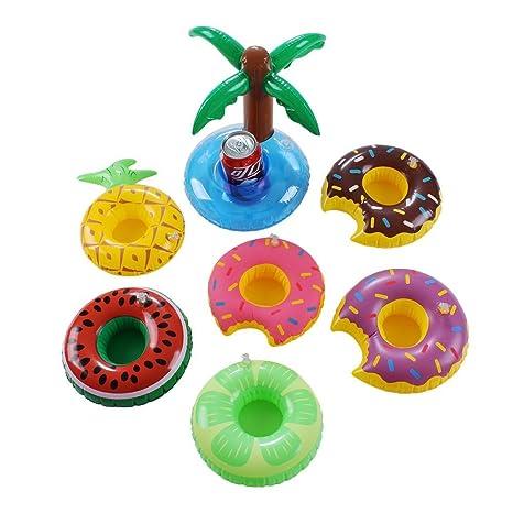 Hinchable bebida soporte, 7 unidades Donuts frutas posavasos ...