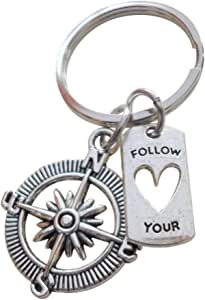 Buddhism Follow Your Heart Sterling Silver Charm Cluster Necklace- inspirational word phrase compass heart Yoga- free shipping USA