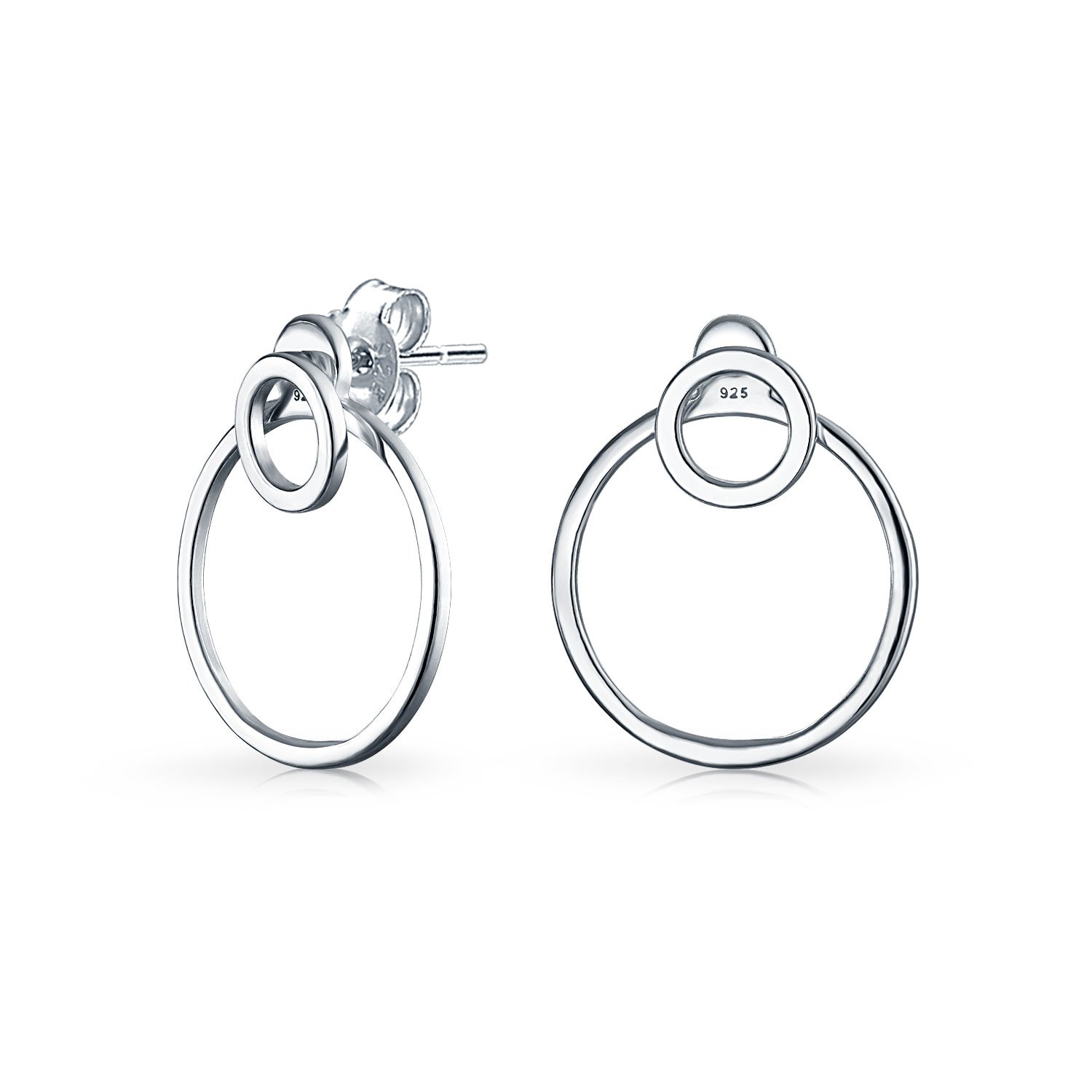 .925 Silver Double Open Circle Front Back Earrings