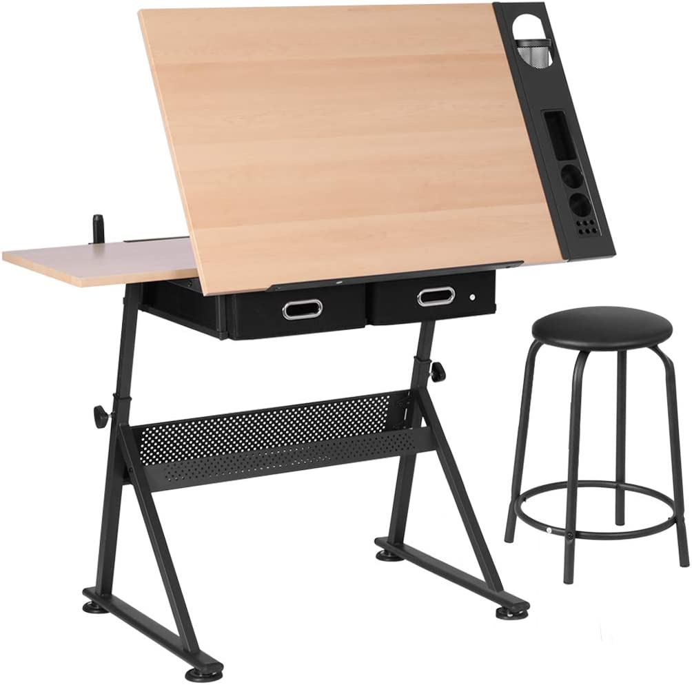 Amazon Com Vivohome Adjustable Height Art Table Craft Drafting Table Desk Artist Drawing Table Tilted Tabletop With 2 Storage Drawers And Stool For Kids Artists Adults Kitchen Dining