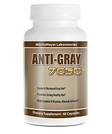 Anti-gray 7050 Hair 60 Capsules - Decrease Gray Hair - Restore Natural Hair  Color -