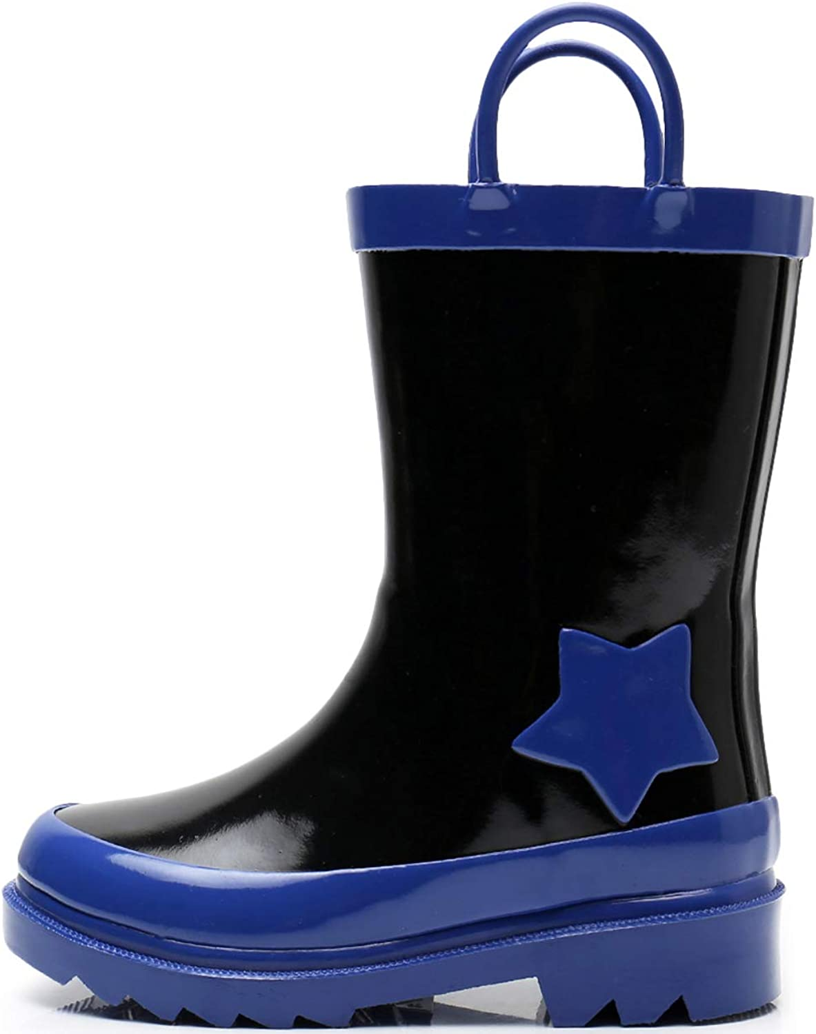 SOLARRAIN Toddler Boys Rubber Waterproof Rain Boots for Kids Outdoor Non Slip Durable Rain Shoes with Easy On Handles