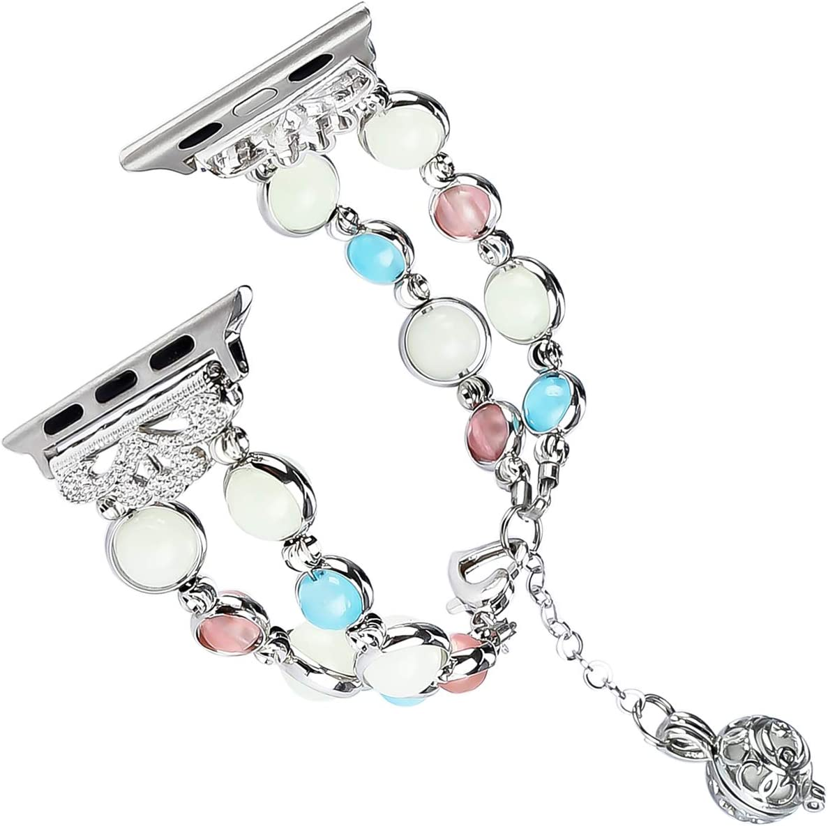 Tomazon Compatible Apple Watch Band Series 4/3/2/1 42mm 44mm, Unique Handmade Luminous Pearl Adjustable iWatch Bracelet Metal Link Wristband with Perfume Storage Pendant for Women Girl - White