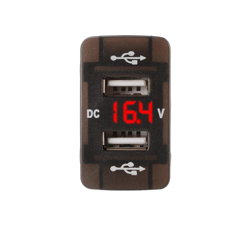 XCSOURCE 5V//3.1A Dual USB Charger Port Voltmeter Voltage Meter Red LED Display Universal for Honda Car Vehicle DC 12V-24V MA1352