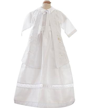 da47d2e29ca73 Robe baptême garçon 1 an tenue longue de baptême avec veste amovible en  tissu shantung pour