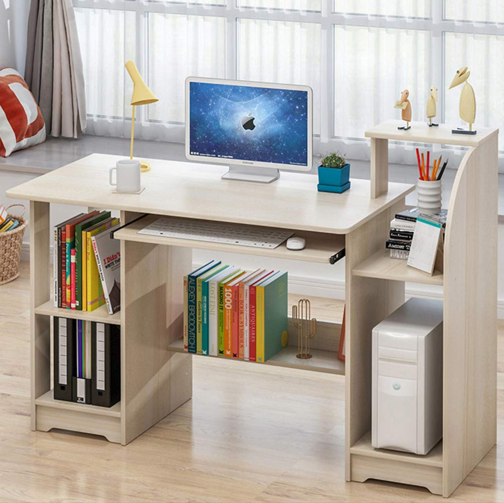 M 120x40x92cm(47x16x36in) Office Computer Desk with Drawers and Shelves,Wood Computer Table Writing Desk Workstation Pc Laptop Table Worktable-J 90x45x90cm(35x18x35in)