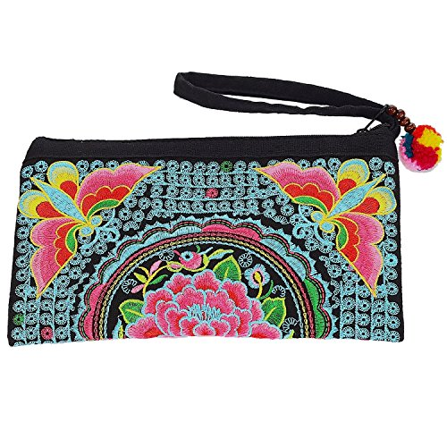 Sabai Jai - Smartphone Wristlet Bag - Handmade Embroidered Boho Clutch Wallets Purses (Blue & Pink) by Sabai Jai