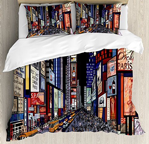 Lunarable Cities of States Duvet Cover Set Queen Size, Colorful Downtown New York Illustration with Comic Book Art Style Broadway, Decorative 3 Piece Bedding Set with 2 Pillow Shams, Multicolor