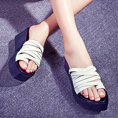 bianco con Alla 37 di Moda Da operazioni Sandali 4cm 37 spagna di pendenza Donna pace Pantofole spessa della mantenimento pan AJUNR xwqU8H