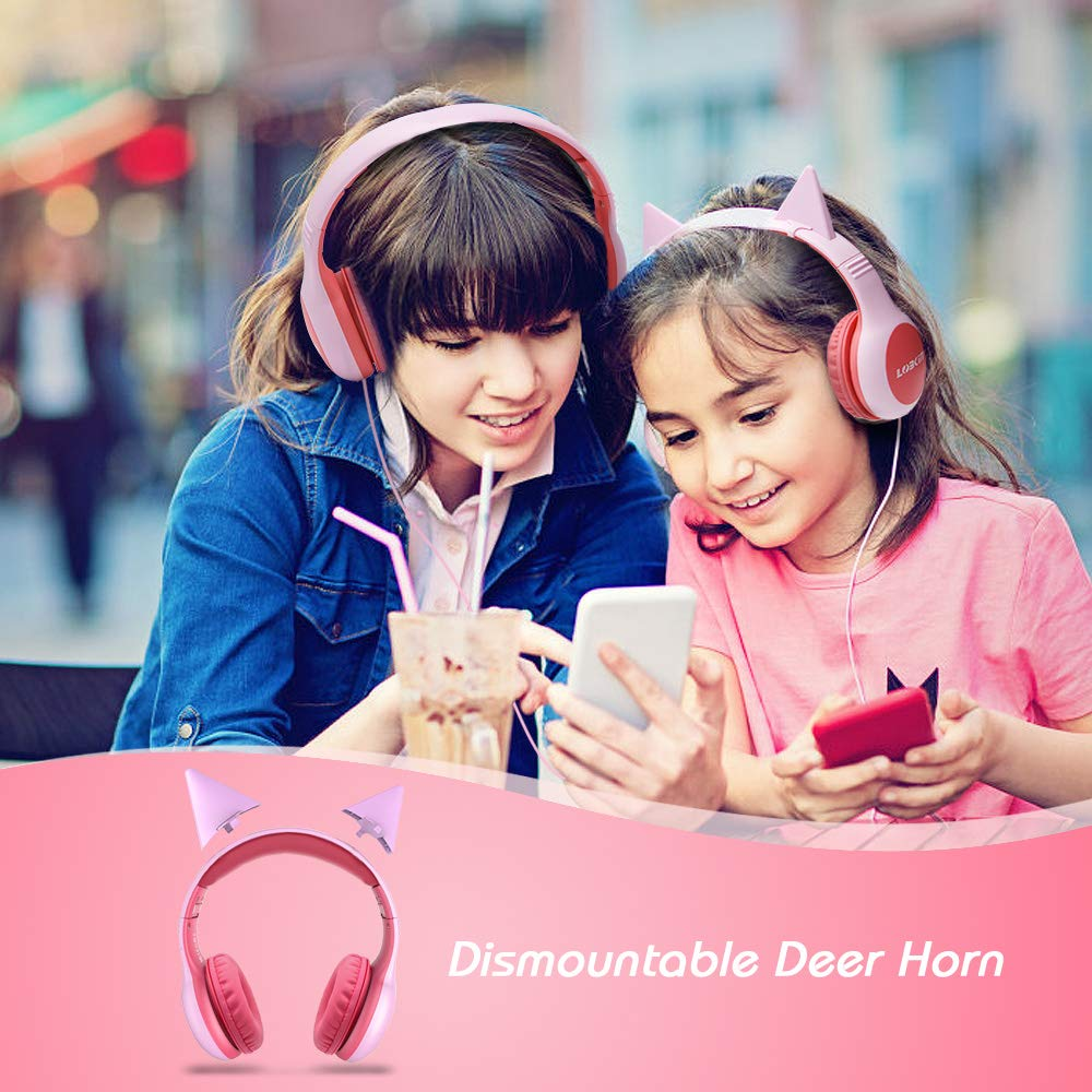 headphones for kids Over Ear, Lobkin Wired Headphones With Music Audio Share Port For Children,Foldable On Ear Headphones Volume Limited Protecting Hearing,For Iphone, All Android Smartphones, Pc