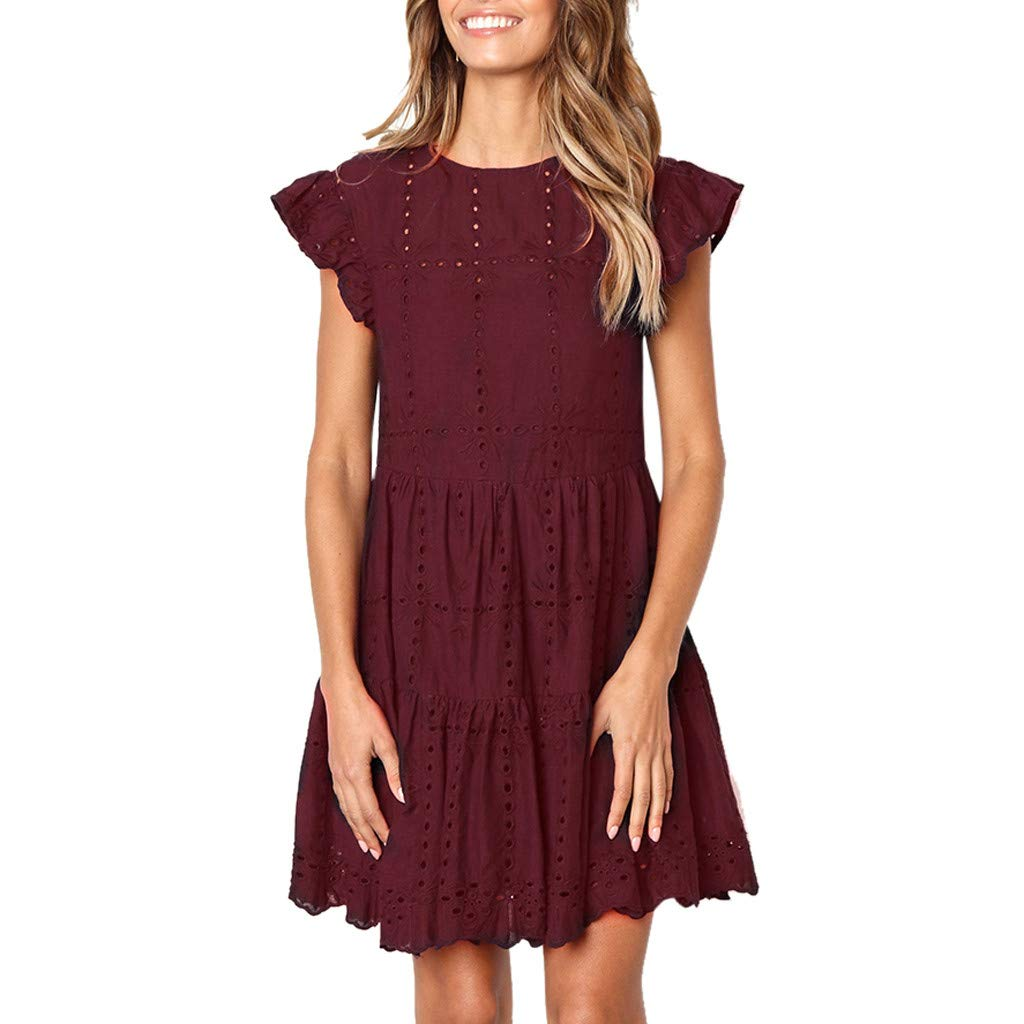 HJuyYuah Fashion Women Casual Ruffles Sleeve Ladies O-Neck Hollow Out Ruched A-Line Dress Wine