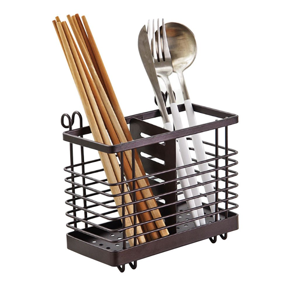Hanging 2 Compartments Mesh Utensil Drying Rack/ Chopsticks/Spoon/Fork/Knife Drainer Basket Flatware Storage Drainer (Square)