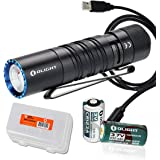 OLIGHT M1T Raider 500 Lumen Compact EDC Flashlight with USB Rechargeable RCR123A Battery and LumenTac Battery Organizer