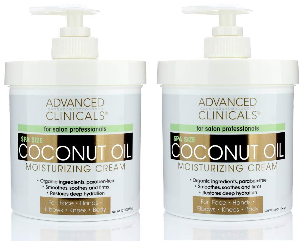 Advanced Clinicals Coconut Oil Cream Moisturizing Lotion. (Two - 16oz) by Advanced Clinicals