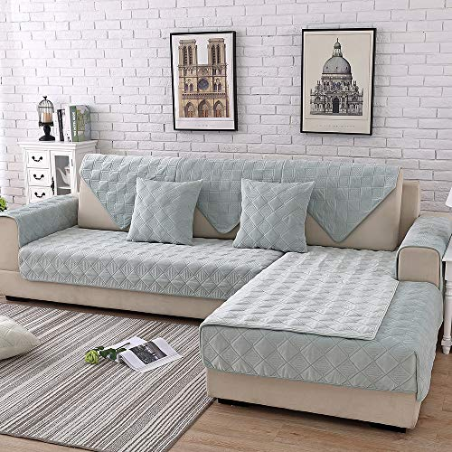 TEWENE Sofa Cover, Velvet Couch Cover Anti-Slip Sectional Couch Covers Sofa Slipcover for Dogs Cats Pet Love Seat Recliner Armrest Backrest Cover Teal (Sold by Piece/Not All Set) (Teal Couch Sectional)