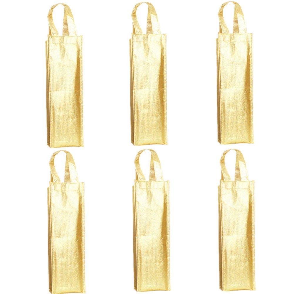 Wine Gift Bag,Derker 6 x Gold Sigle Bottle Gift Bags,Wine Bottle Tote Holder Vineyard,Christmas gift