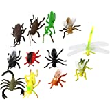 Lot de 12pcs Insecte Modèle Animal en Plastique Jouet Multicolore