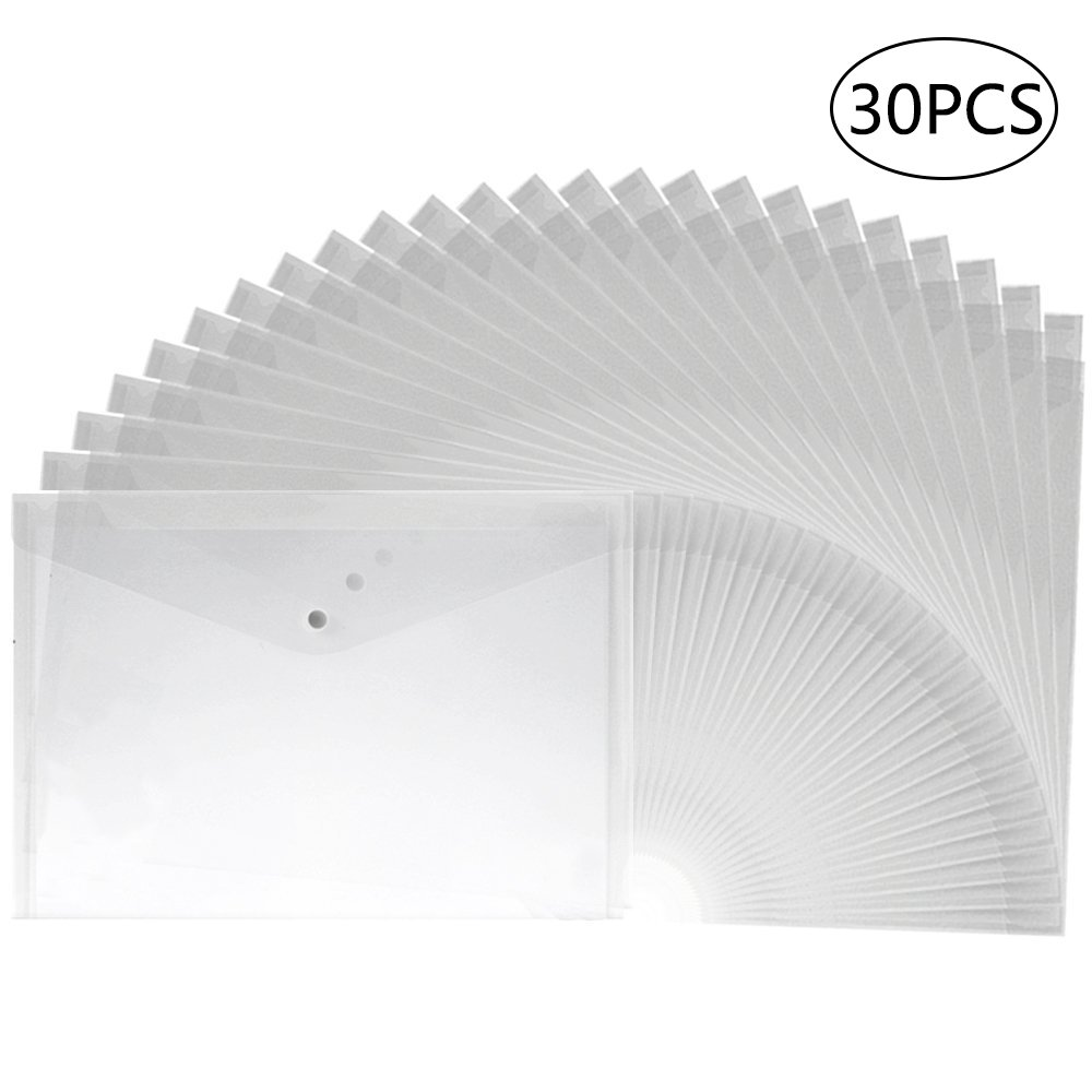 APLANET 30pcs Clear Plastic Waterproof Envelope Folder with Button Closure, A4 Size