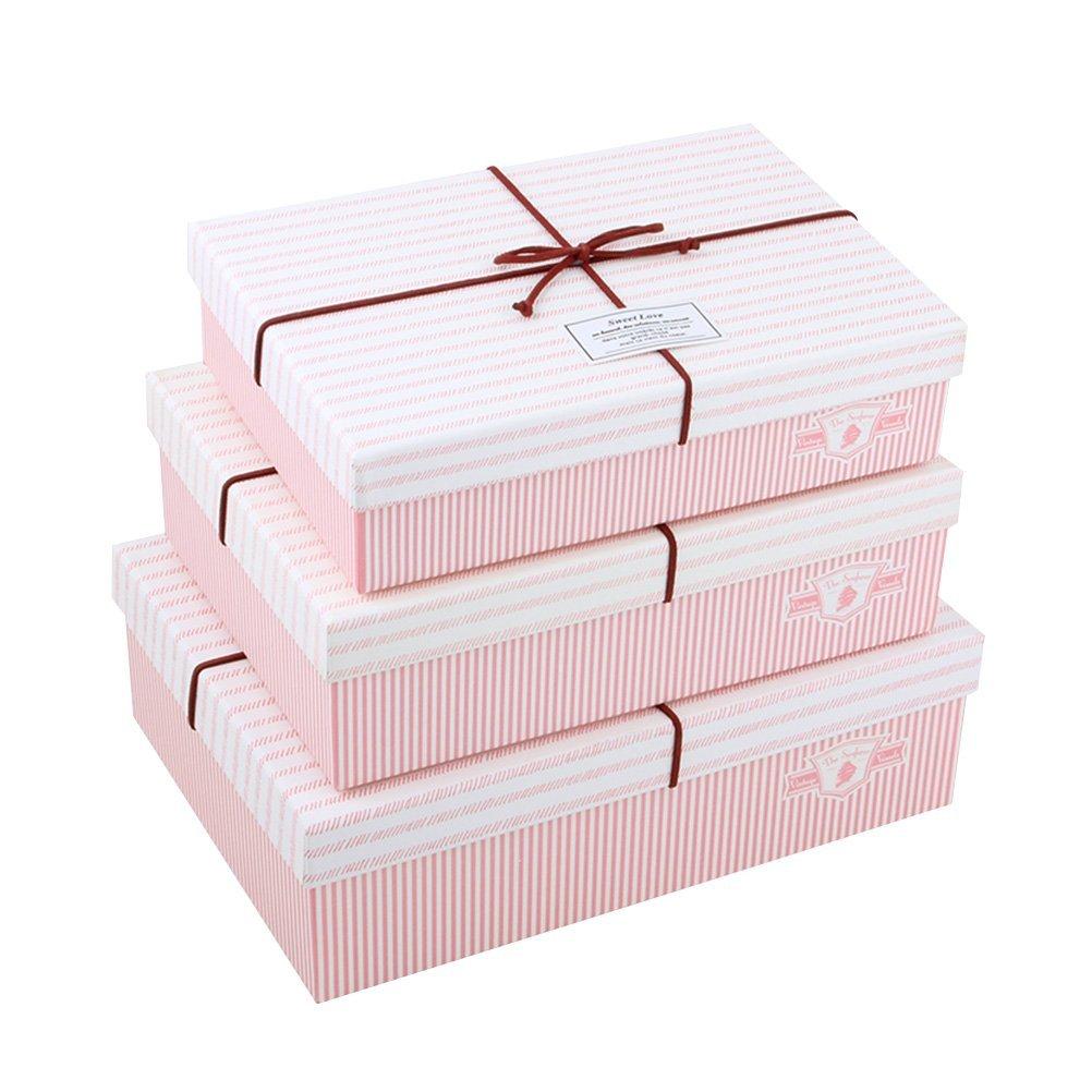 BESTOYARD Conjunto de 3 Cajas de Regalo Bowknot Sisal Cajas de Papel para la decoración de la Fiesta de cumpleaños