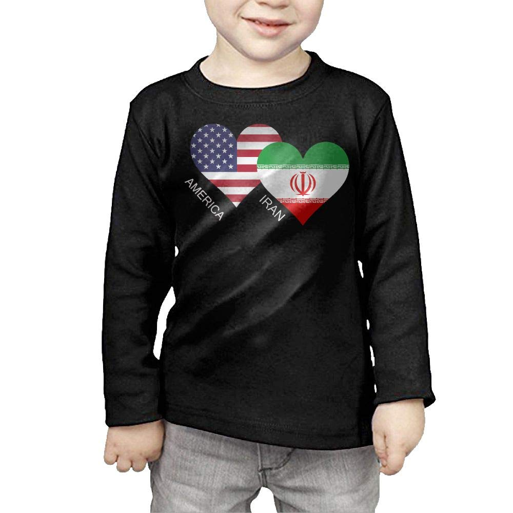 CERTONGCXTS Little Boys America Iran Flag Heart ComfortSoft Long Sleeve Shirt