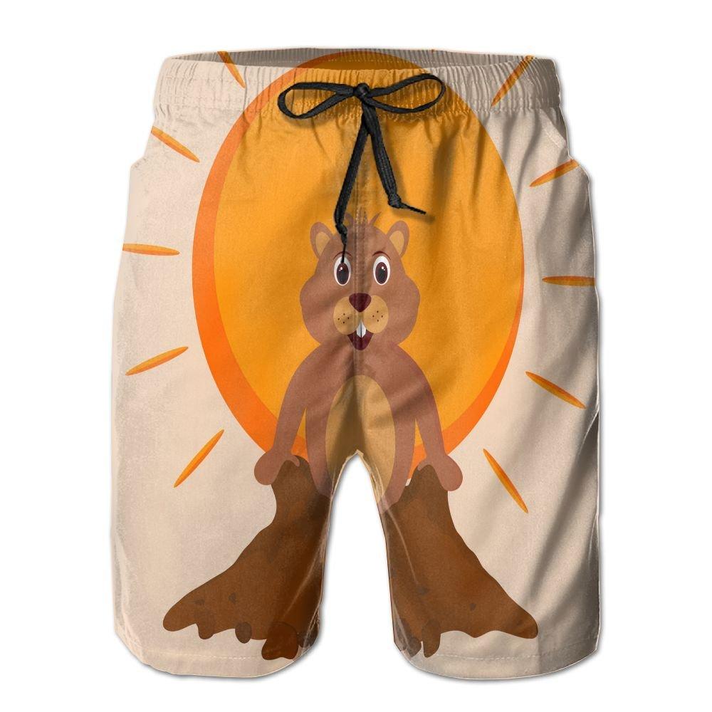 JF-X Sun Groundhog Shadow Mens Beach Surf Shorts Board Shorts Swimming Trunks