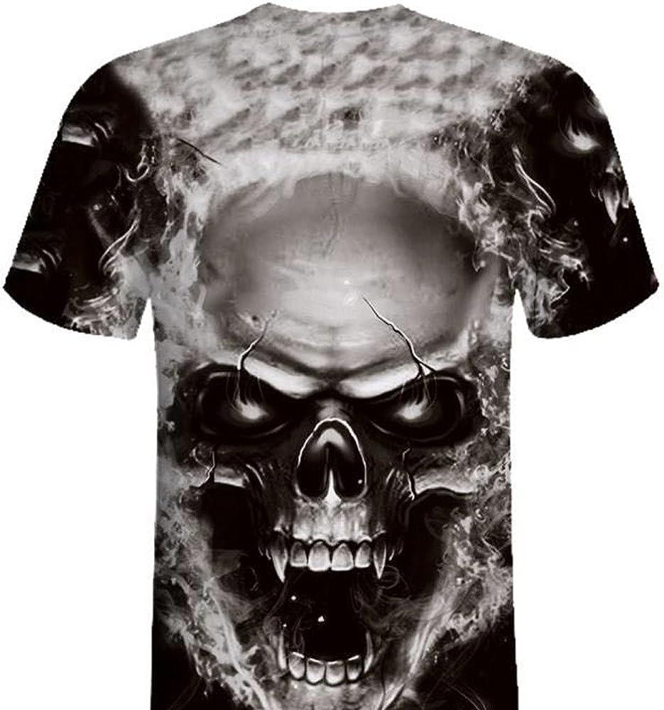 HELLOSAY Mens Plus Size Skull 3D Printed Tees Shirt Short Sleeve T-Shirt