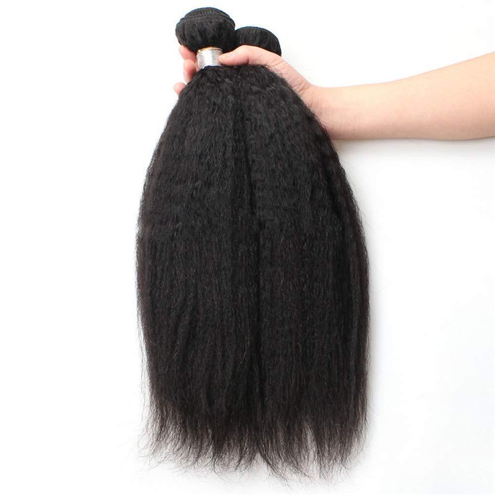 YESONEEP 9Aブラジル人変態ストレート人間の髪1バンドル焼きストレートヘア100%未処理の人間の毛髪延長ナチュラルブラックカラー複合毛レースのかつらロールプレイングかつらストレートシリンダーショートスタイル女性自然 (色 : 黒, サイズ : 26 inch) B07T3K3FD6 黒 26 inch