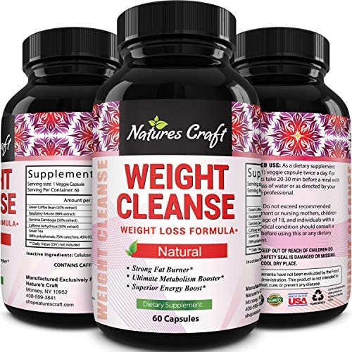 Natures Craft Extra Strength Energy Blend Appetite Suppressant Fat Burner Made with Best Garcinia Cambogia HCA Raspberry Ketones Green Coffee Bean Extract – Rapid Weight Loss Pills