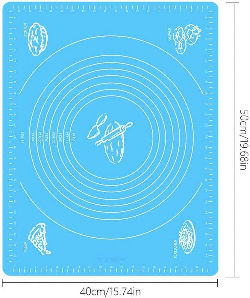 BPA OMZGXGOD Tapis de Cuisson,Tapis de Cuisson P/âtisserie en Silicone sans Bisph/énol-A ,Anti-adh/ésif R/éutilisable avec Cercle gradu/é pour Retourner la p/âte Baking Mat,Silicone Bleu.(40x50cm)