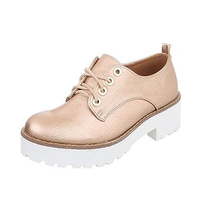 Zapatos para mujer Mocasines Tacón ancho Zapatillas Rose Gold Tamaño 37: Amazon.es: Zapatos y complementos