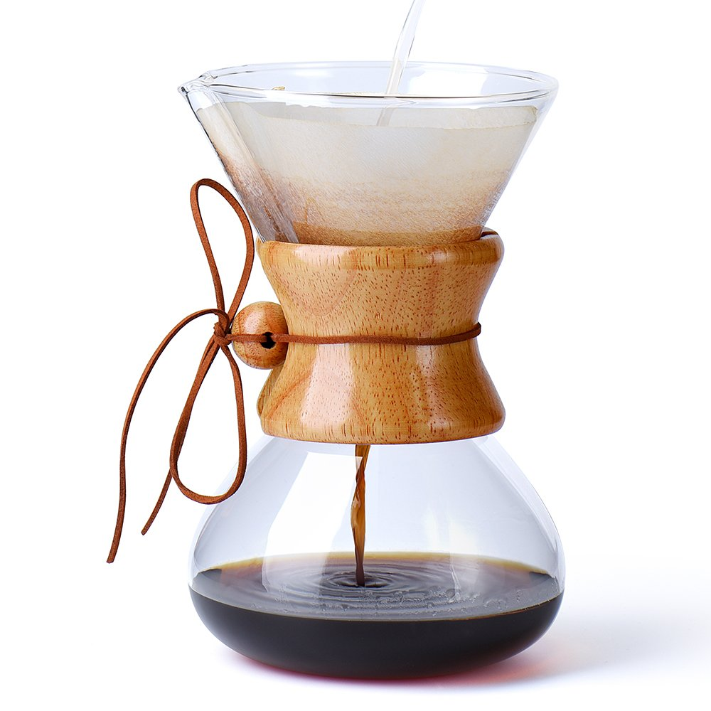 Glotoch Glass Coffee Dripper, Pour Over Brewer Coffee Maker, Classic Hand Drip Brewer for Paper Filter(800ml, 6cups)