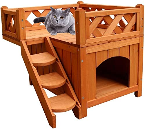 2-Story Wooden Cat House Cat Shelter with Stairs and Balcony Indoor Outdoor 20.08 L x 20.08 W x 17.99 H inches