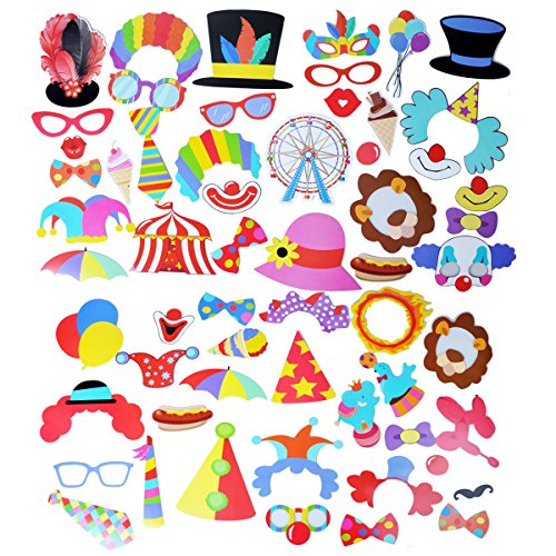 Themed Carnival Ideas Up Dress (EBTOYS 52pcs Carnival Photo Booth Props Circus Clown Party Photo Booth Dress-up Accessories & Party Favors, Costumes with Clown Hats, Moustache, Eyeglasses, Red Noses,Colorful Balloons,)