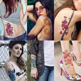 Kotbs 6 Sheets Large Temporary Floral Tattoo Paper Sexy Body Art Tattoo Sticker for Women Girl Lady Waterproof Fake Tattoos (Chrysanthemum, Rose, Peony)